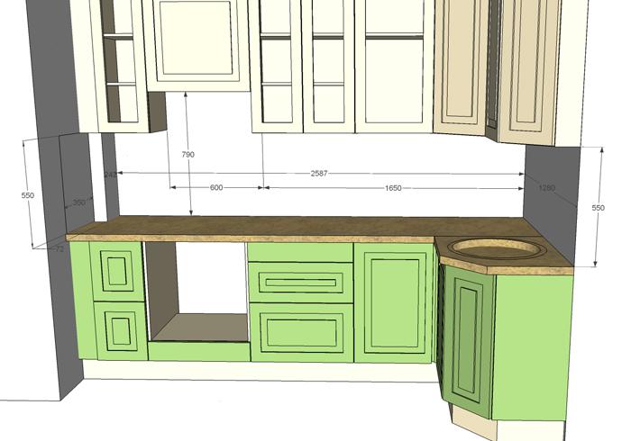 Схема кухонного фартука